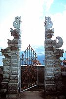 gate to a tempel, Kintamani, Bali, Indonesia, Asia, open gate, door, entrance, ornamented, view in the distance, path, invitation, mountain range, vol...