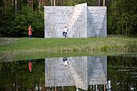 Sol Le Witt sculpture in Europa_Park which marks the geographical center of europe 18 km ne of Vilnius, Lithuania