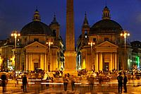 Piazza del Popolo, twin churches Santa Maria dei Miracoli and Santa Maria in Montesanto, and Egyptian obelisk of Ramesses II in the evening light, Rom...