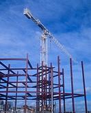 Crane and construction frame