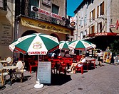 Orange Provence France Street Cafe People Sitting Outside Beer Umbrellas Canada Dry