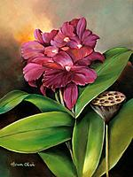 Red Orchid, Orchid blossoms on leafy stems Oil painting.