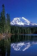 Reflection of mountain in water, Mt Adams, Takhlakh Lake, Gifford Pinchot National Forest, Washington State, USA