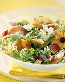 Parma ham and flower salad