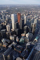 Aerial view of Toronto financial district from the CN tower vertical