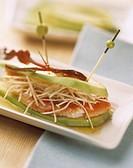 Avocado,gambas and celery sandwich