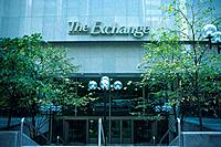 The entrance of the stock exchange building, Front View, Toronto, Canada
