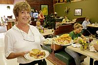 Arkansas, Pocahontas, Old Historic Courthouse Square, Green Tomato Cafe, restaurant, woman, waitress, customer, eat, drink, dining, food, casual, serv...