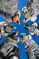Low angle portrait of soldiers standing in circle aiming