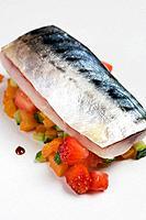 Marinated mackerel with strawberries and vegetables at restaurant Maruja Limon by Rafael Centeno, Vigo. Pontevedra province, Galicia, Spain