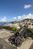 Grenada, Carribean, St. George´s, View, from Fort George, overview, overlook, town, city, houses, roofs, coast, sea, l