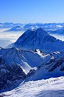 Germany, Europe, Alps, Bavaria, View, from Zugspitze, Winter, Landscape, Scenic, scenery, landscape, Panorama, Panoram