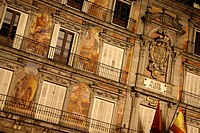 Painted facades of Casa de la Panaderia, Plaza Major, Madrid,Spain