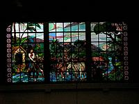 Stained glass window of the Mother church of Gramado, Rio Grande do Sul, Brazil