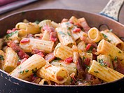 Pan of Rigatoni Pasta with Tomato and Pancetta Sauce