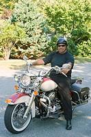 Senior man riding a motorcycle