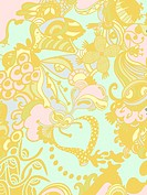 A blue, pink and yellow whimsical floral background