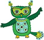 A green owl with spots and open wings