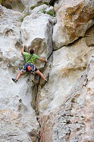 Man rock climbing, City of Rocks, Idaho, USA