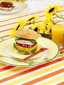 glass cup, plate, sunflower, leaf, tablecloth, orange juice, dish