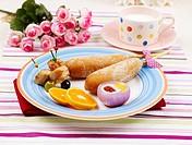 saucer, plate, cup, milk, garnish, flower, dish
