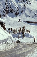 Snowboarding Over a Road