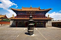 Sculpture in front of a temple, Da Zhao Temple, Hohhot, Inner Mongolia, China