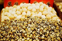 Quail eggs at a market stall, Tai´an, Shandong Province, China
