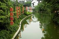 Reflection of trees in water, Nanjing, Jiangsu Province, China