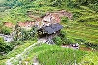 High angle view of a covered bridge across a stream, Jinkeng Terraced Field, Guangxi Province, China