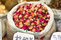 Close_up of dry roses at a market stall, Tai´an, Shandong Province, China