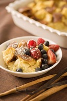 Serving of Bread Pudding with Berries
