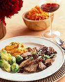 Sliced Pork with Brussles Sprouts and Whipped Sweet Potatoes