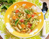 French vegetable soup with spiral pasta