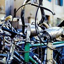 Bicycles in a parking lot