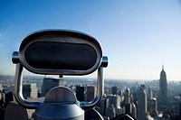 Close_up of a tourist telescope, Manhattan, New York City, New York State, USA