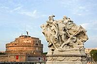 Castel Sant«Angelo seen from Vittorio Emanuele II Bridge  Rome, Lazio, Italy