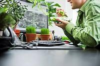 Man Eating Salad at His Desk