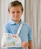 Boy with arm in sling