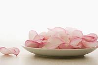 Plate of pink rose petals