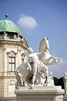 Austria, Vienna, Belvedere Castle, Sculpture with horse