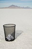 Waste paper basket on salt flats, Salt Flats, Utah, United States