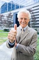 Germany, Baden Württemberg, Stuttgart, Senior businessman with thumbs up sign, smiling, portrait
