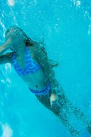 Underwater shot of girl swimming, Florida, United States