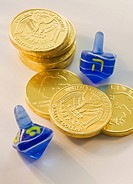 Close up of Chanukah coins and dreidels