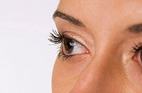 Woman with brown eyes, close up