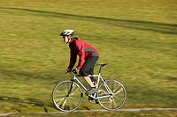 Germany, Bavaria, Oberland, Woman mountain biking