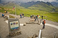 Denali National Park interpretive Ranger speaks to visitors before a nature hike outdoors at the new 2008 Eielson visitor center in Denali National Pa...