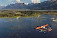 Turbo Beaver flightseeing over the Knik River Valley during Summer in Southcentral Alaska