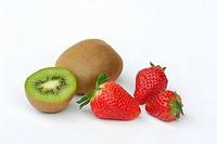 Strawberries and Chinese Gooseberry, Actinidia chinensis, Actinidia deliciosa, Fragaria x ananassa, Kiwi fruit
